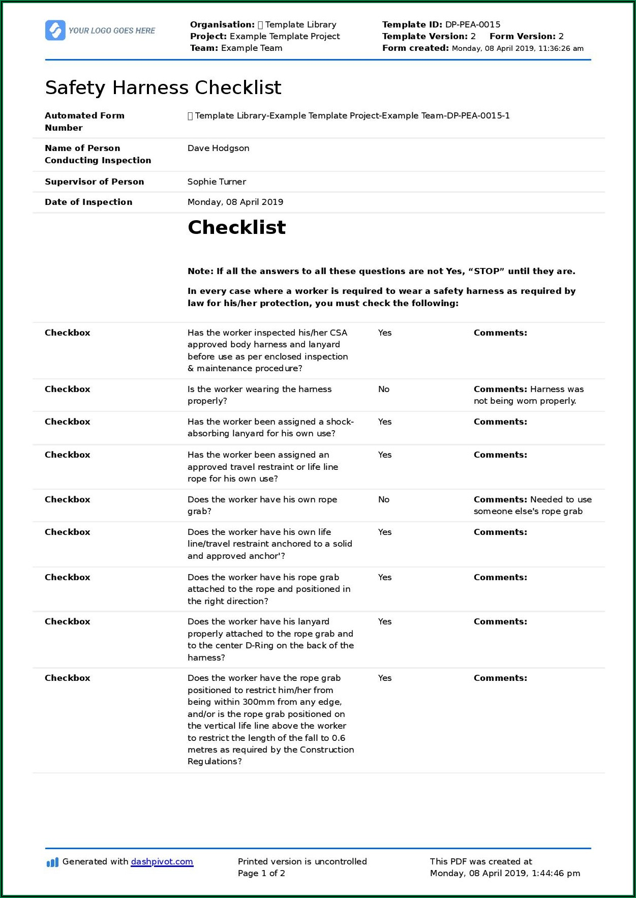 Safety Harness And Lanyard Inspection Checklist