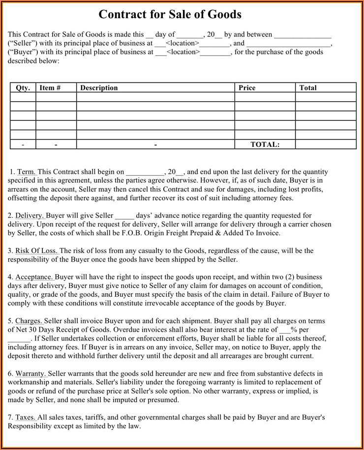 Sales And Purchase Agreement Template Free