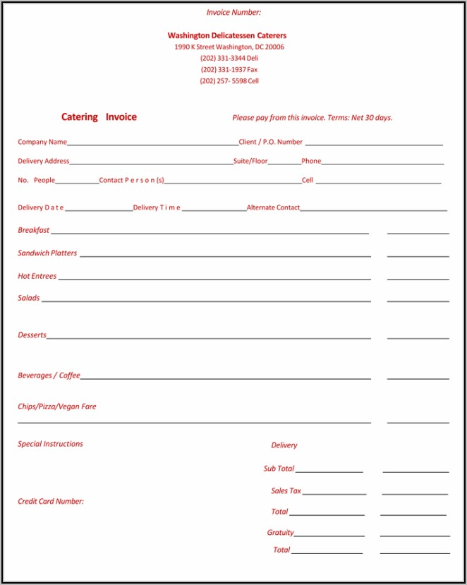 Sample Invoice For Catering Services