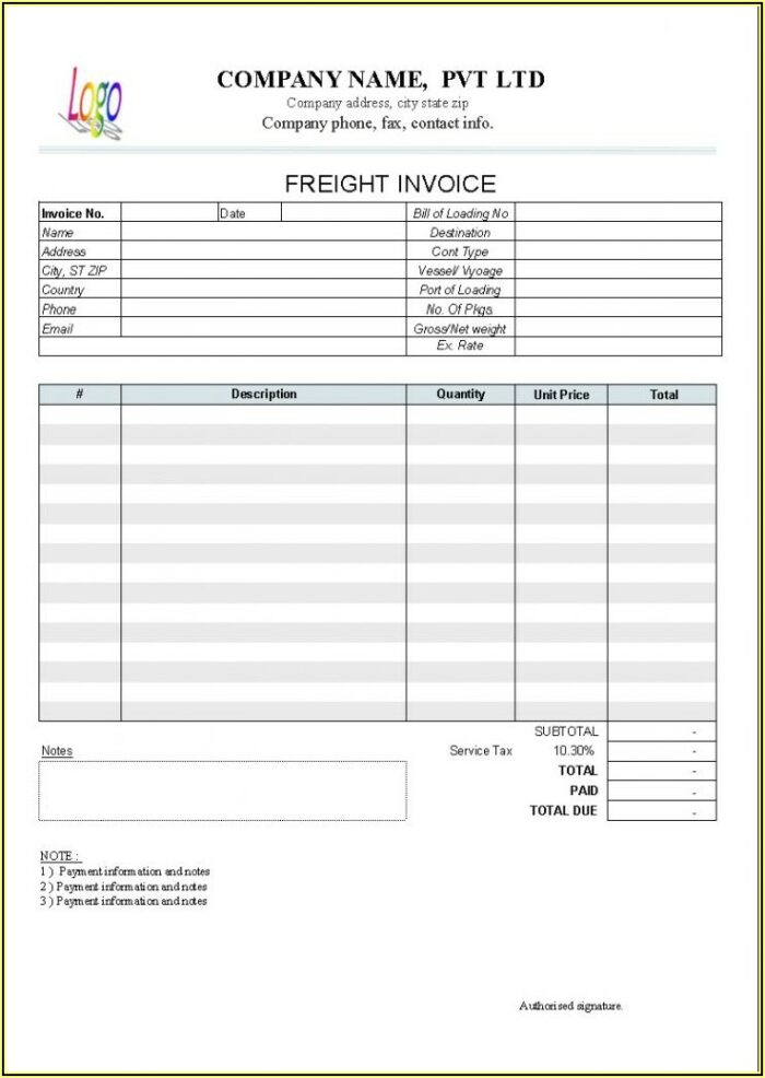 Sample Invoice For Trucking Company