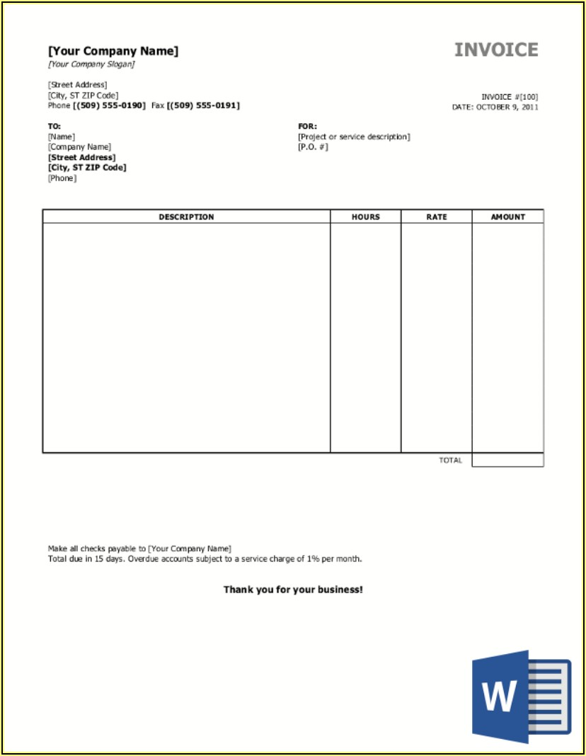 Sample Invoice Format In Word Free Download