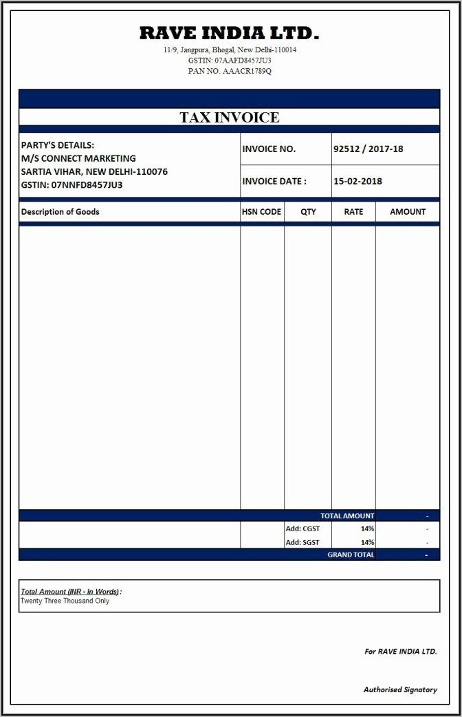 Sample Invoice Format In Word India