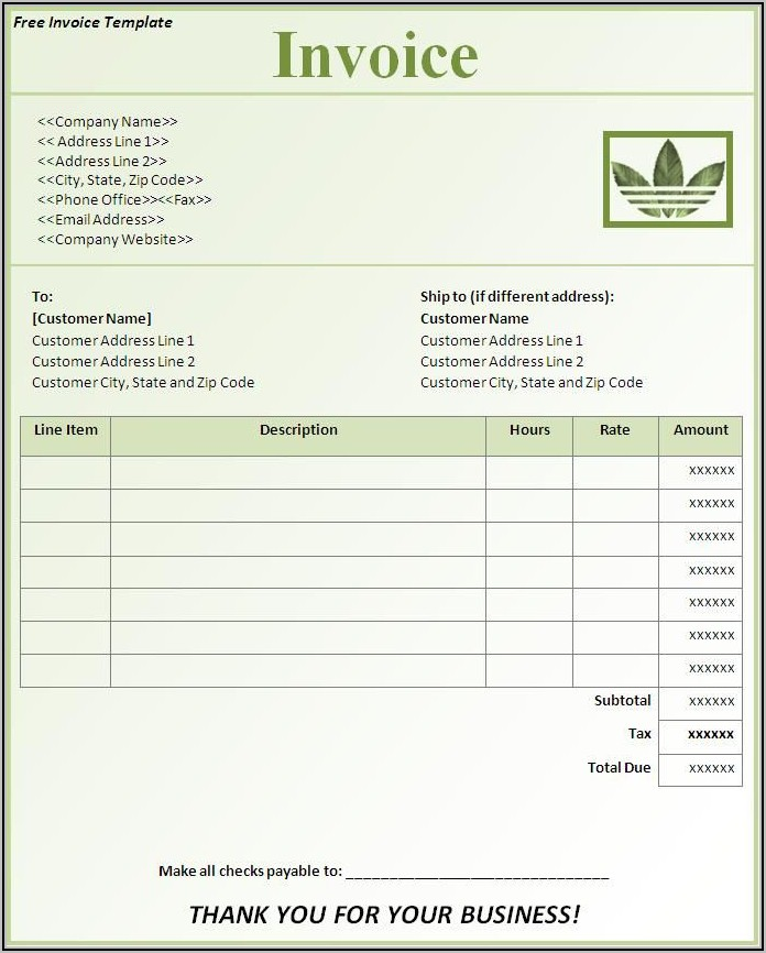 Sample Invoice Word Document Download