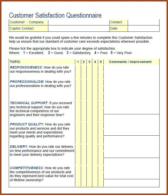 Sample Questionnaire For Customer Satisfaction Survey Pdf
