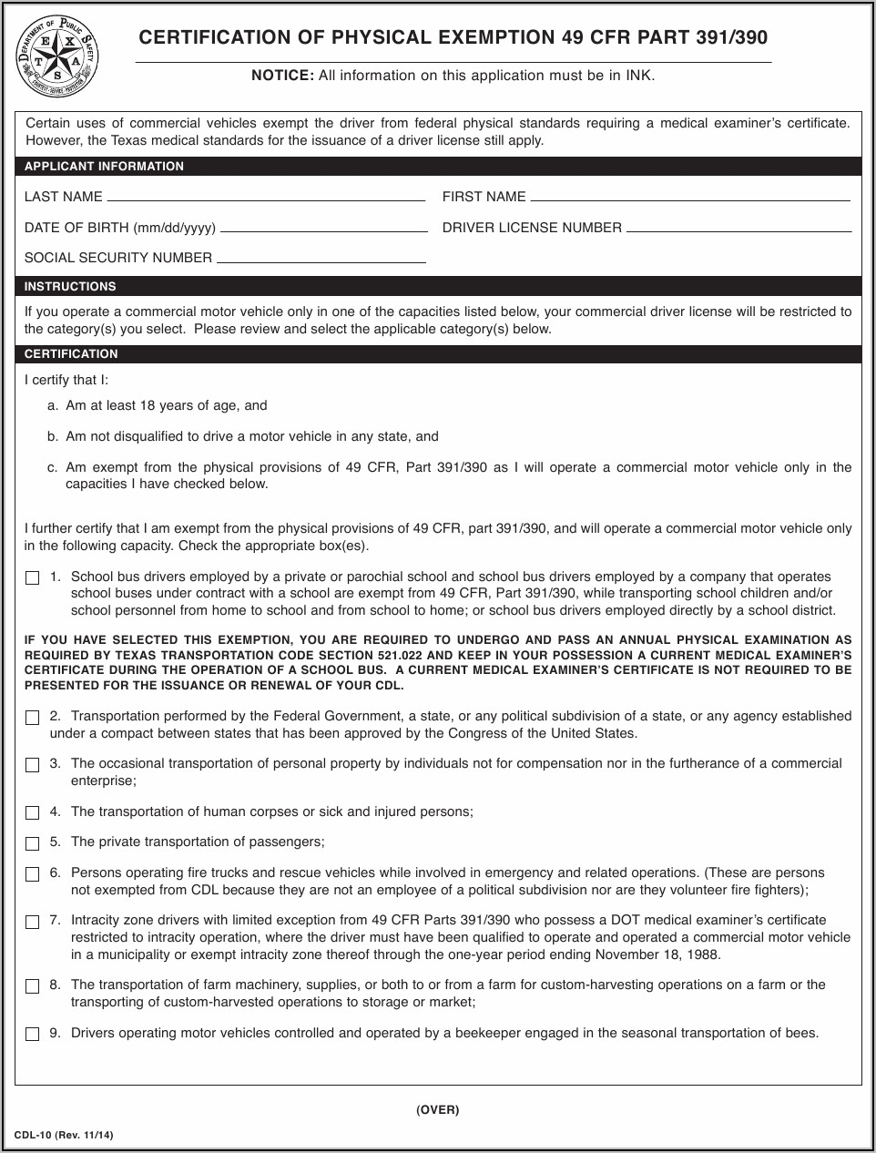 Sc Dot Cdl Physical Form
