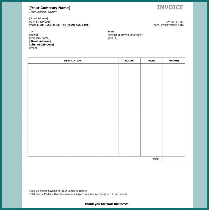 School Invoice Format In Word