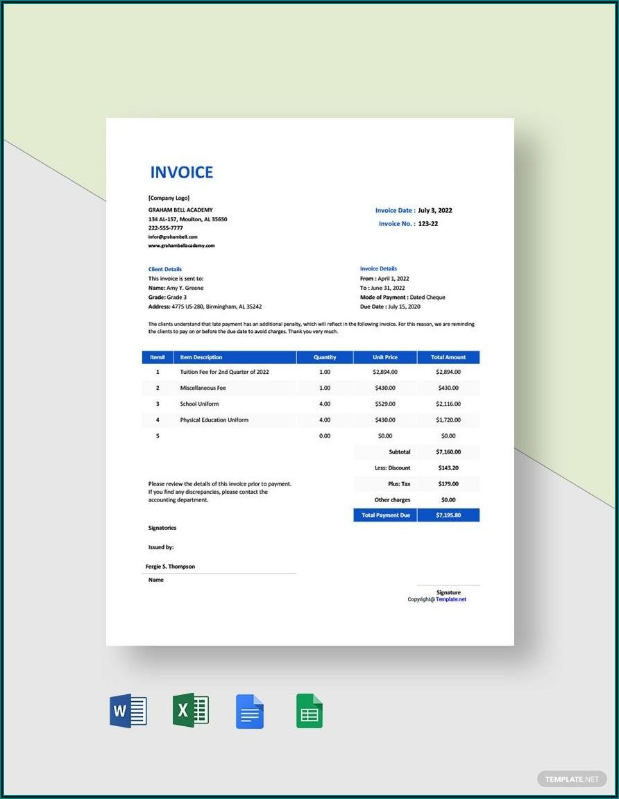 School Invoice Template