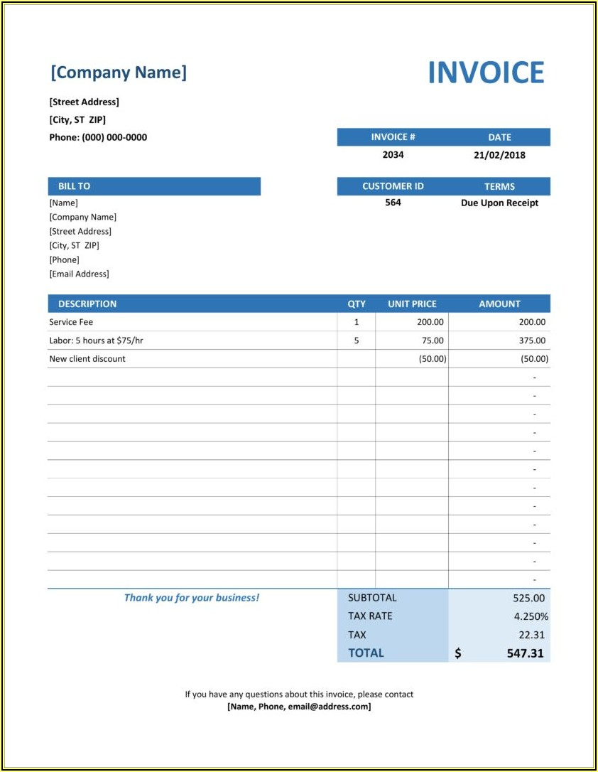 Simple Bill Format In Word Free Download