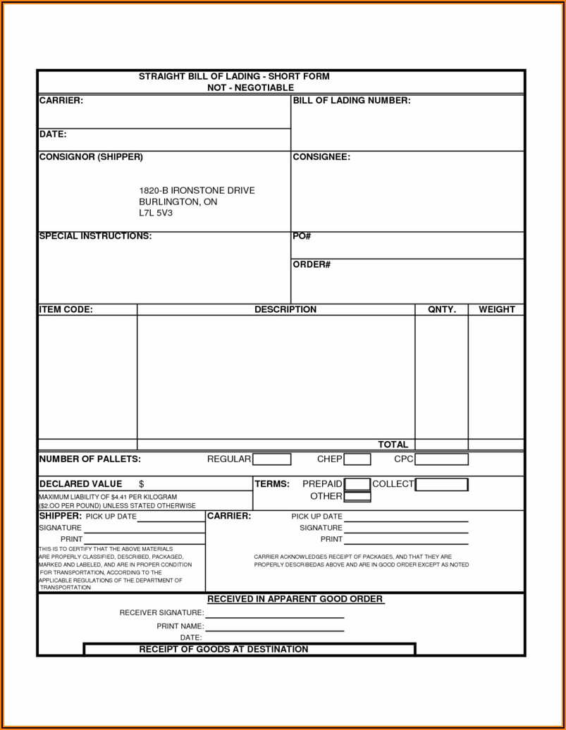 Simple Bill Of Lading Template
