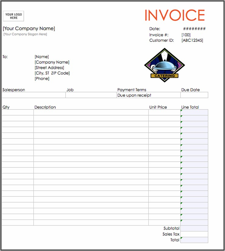 Simple Invoice For Catering Services