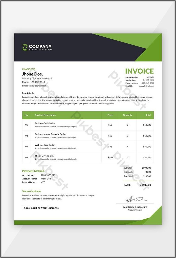 Simple Invoice Template Word Free Download