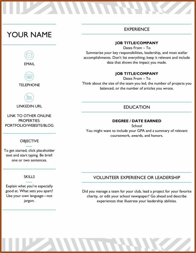 Simple Resume Template Word Free Download