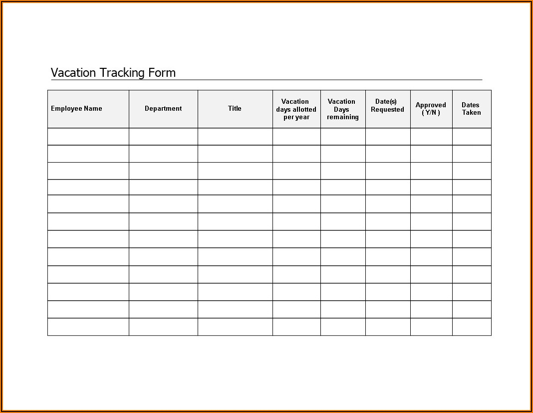Simple Vacation Tracker Template