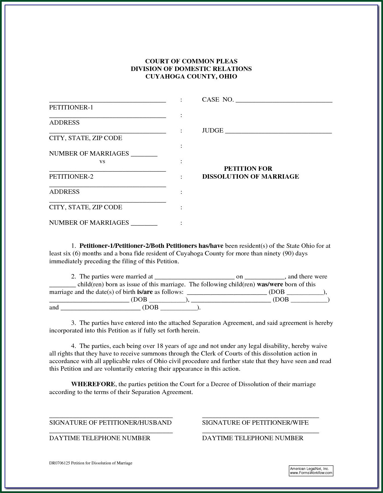 State Of Ohio Dissolution Of Marriage Forms