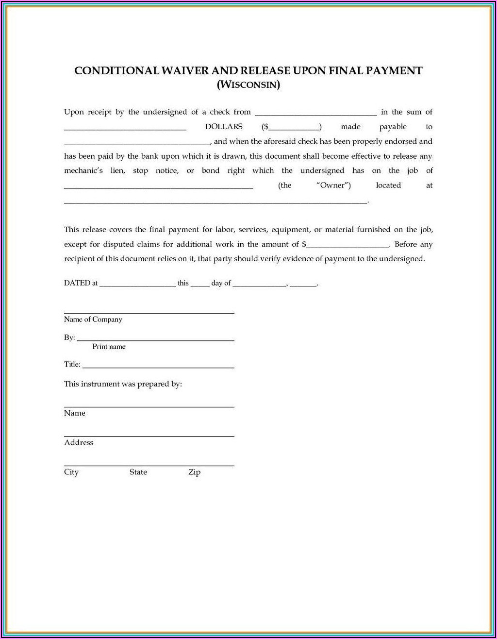 Subcontractor Final Release Of Lien Form