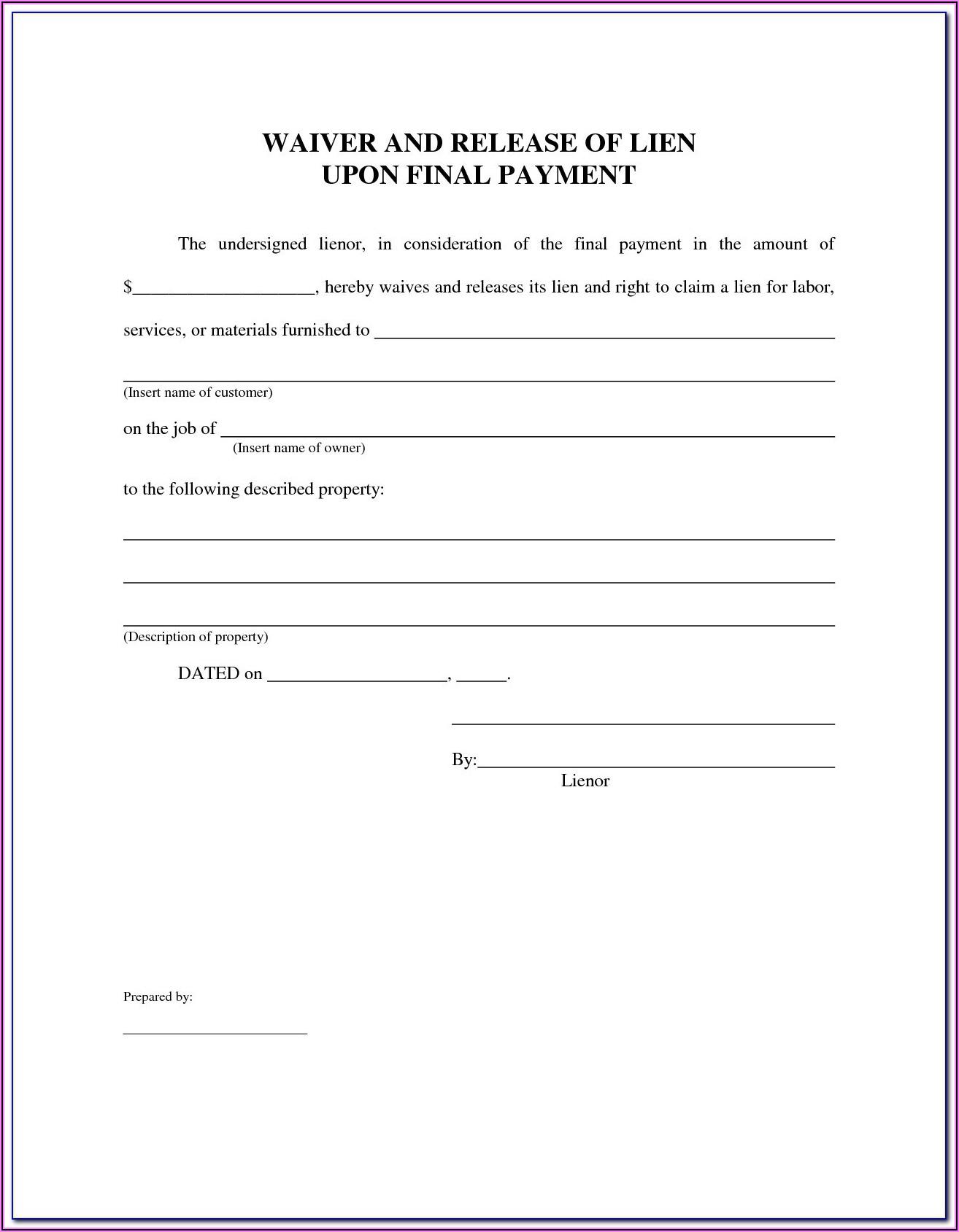 Subcontractor Release Of Lien Form Florida