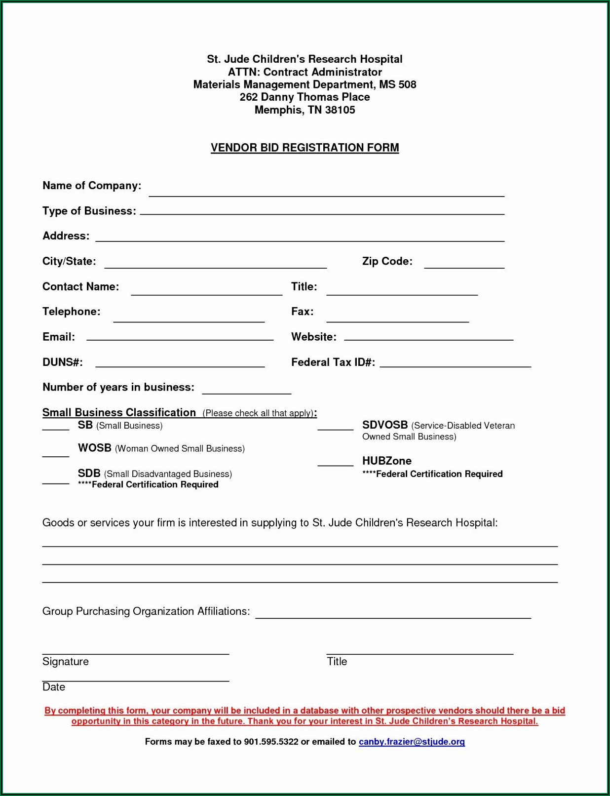 Supplier Onboarding Form Template