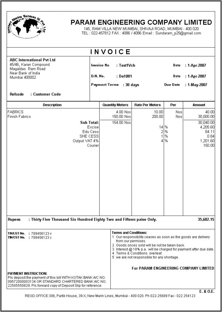 Tally Gst Invoice Format In Word Free Download