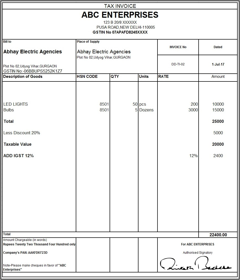 Tally Tax Invoice Format In Word Free Download