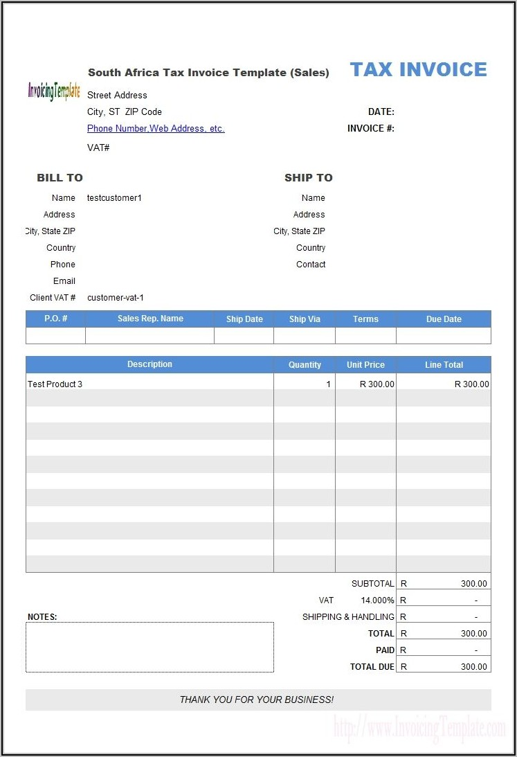 Tax Invoice Format In Word