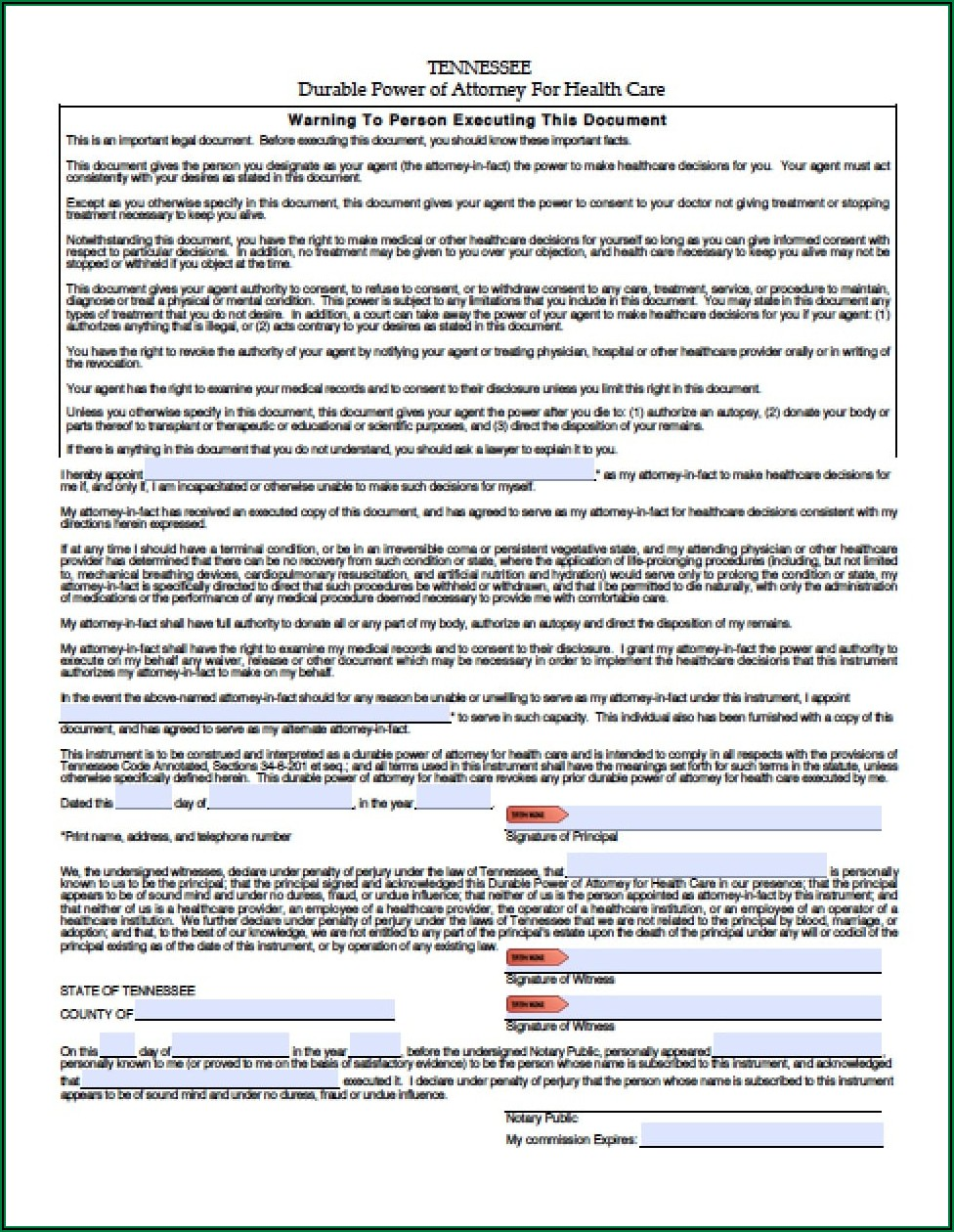 Tennessee Durable Power Of Attorney For Health Care Form