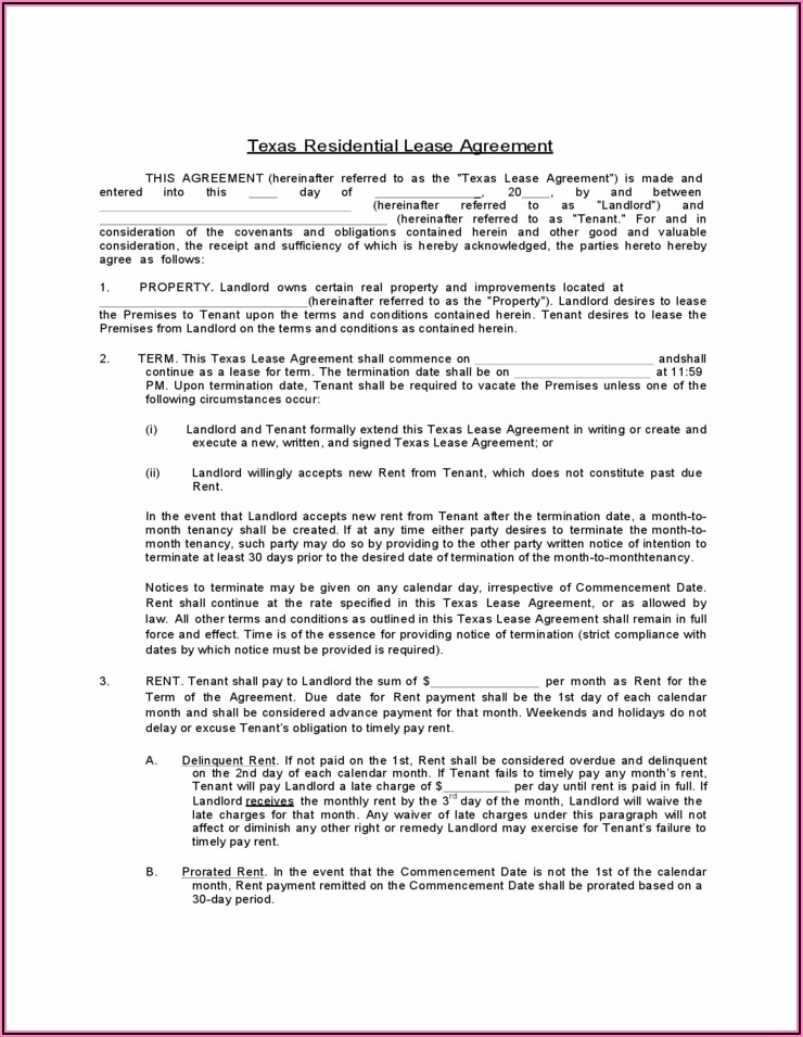 Texas Residential Lease Form Free