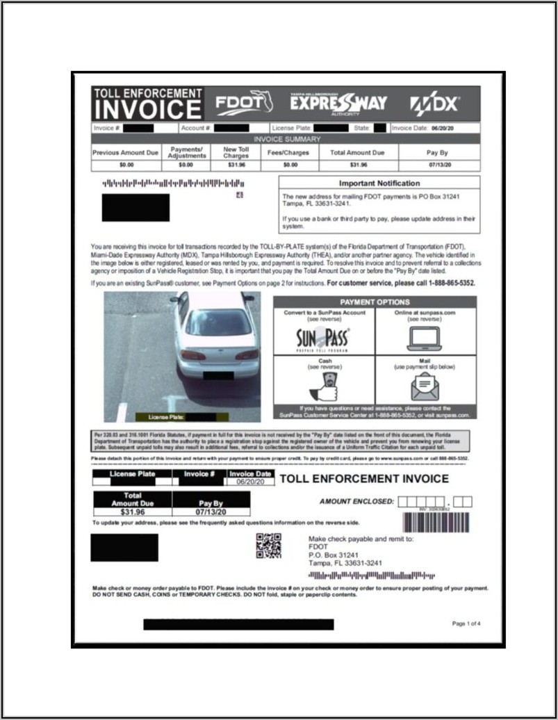 Toll Enforcement Invoice Florida Fdot