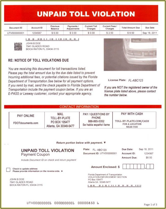 Toll Enforcement Invoice Florida