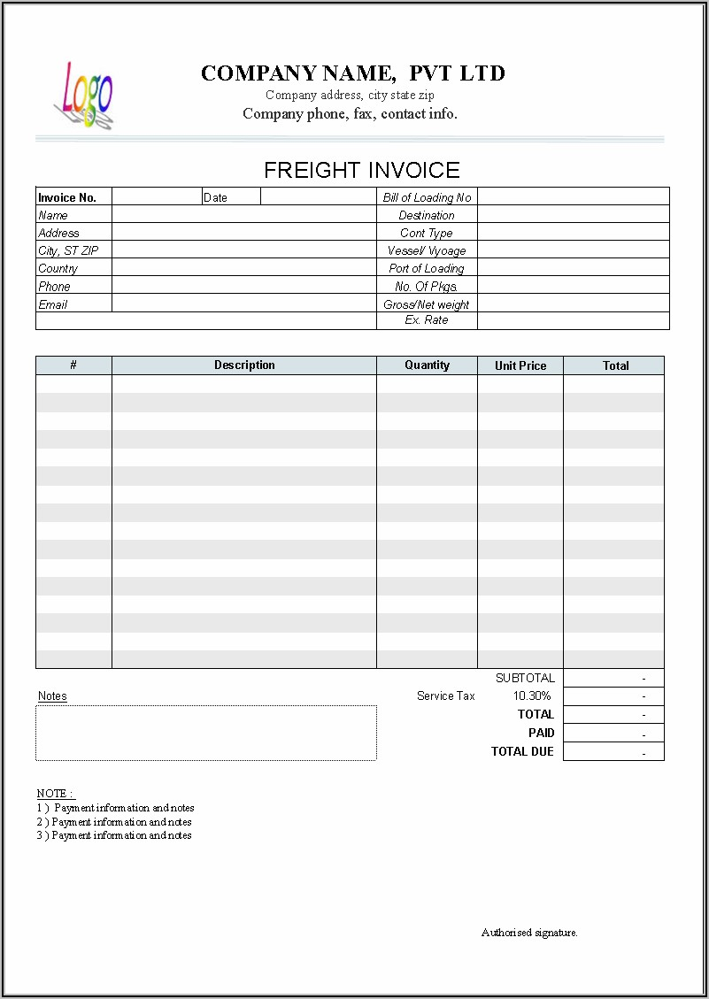 Transport Bill Sample Format In Word