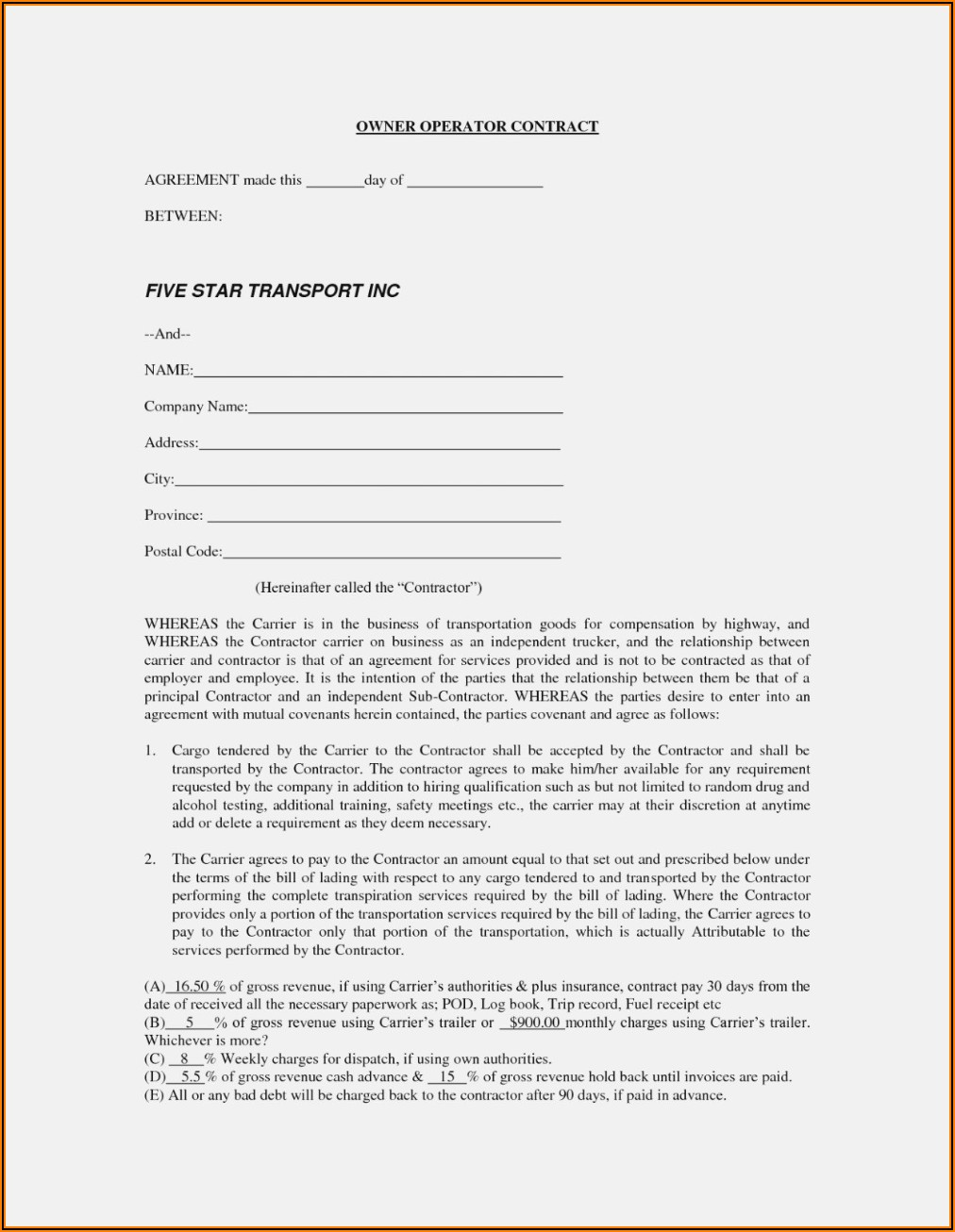 Truck Rental Agreement Contract