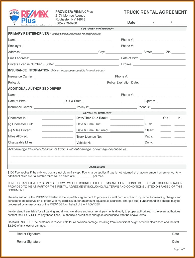 Truck Rental Agreement Template Free