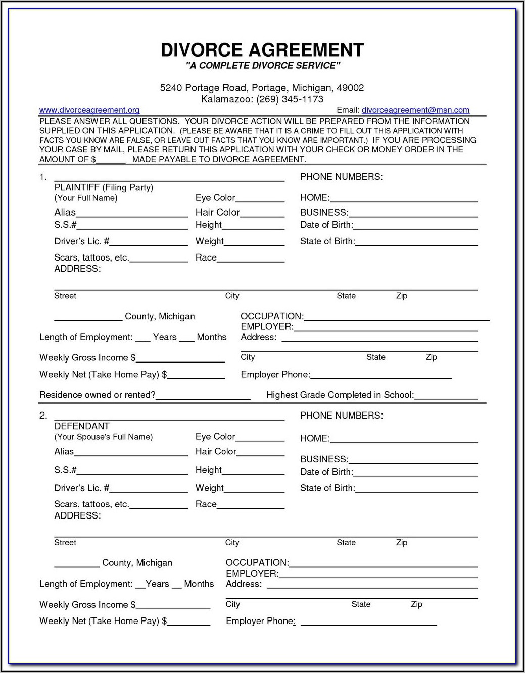 Uncontested Divorce Forms Ontario