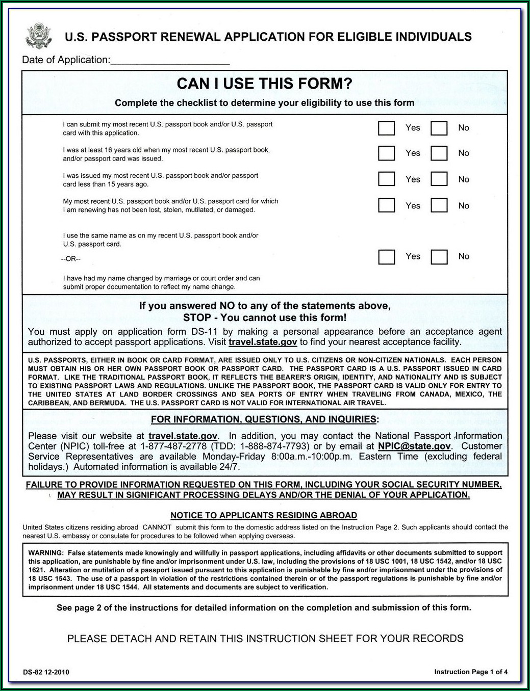 Us Passport Renewal Form Ds 82 Online