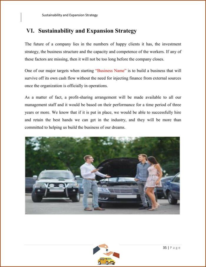 Used Car Dealer Business Plan Template Pdf