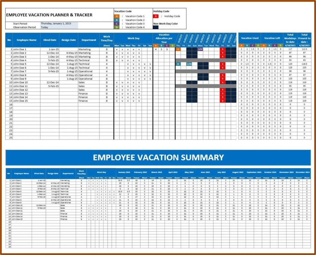 Vacation Spreadsheet Template
