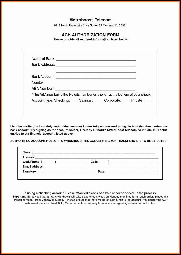 Vendor Ach Authorization Form