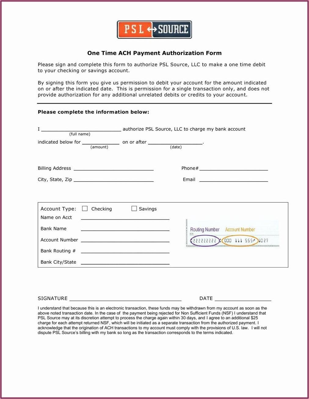 Vendor Ach Payment Authorization Form Template