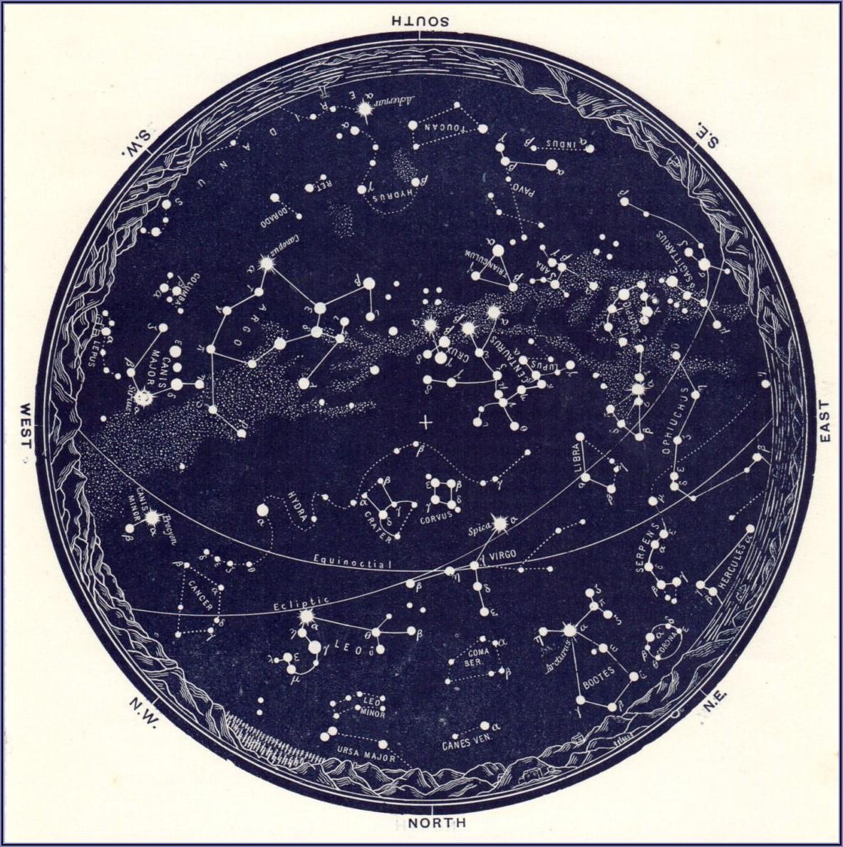 Vintage Star Map Poster