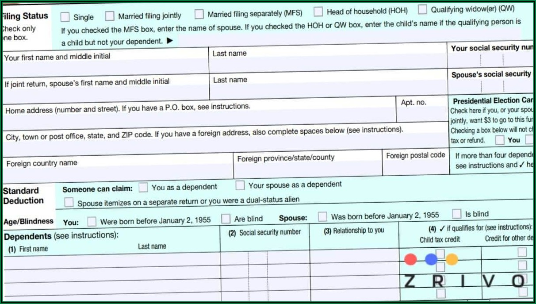 W2 And Tax Return Form 1040