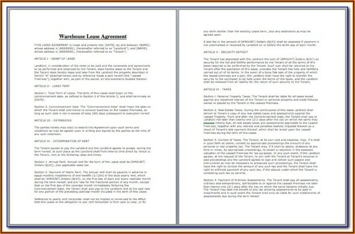 Warehouse Lease Agreement Form