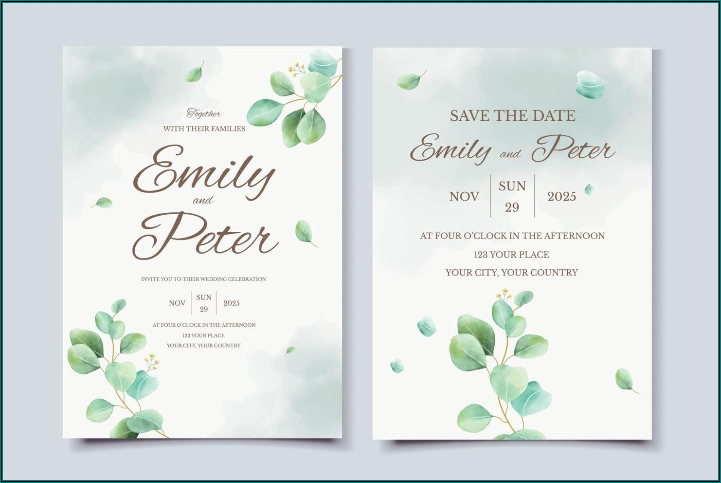 Watercolor Wedding Invitation Card Template Free Download