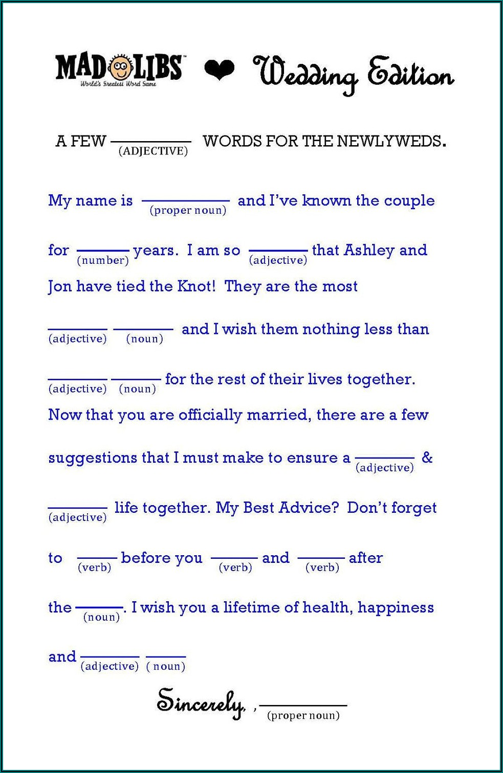 Wedding Mad Libs Template