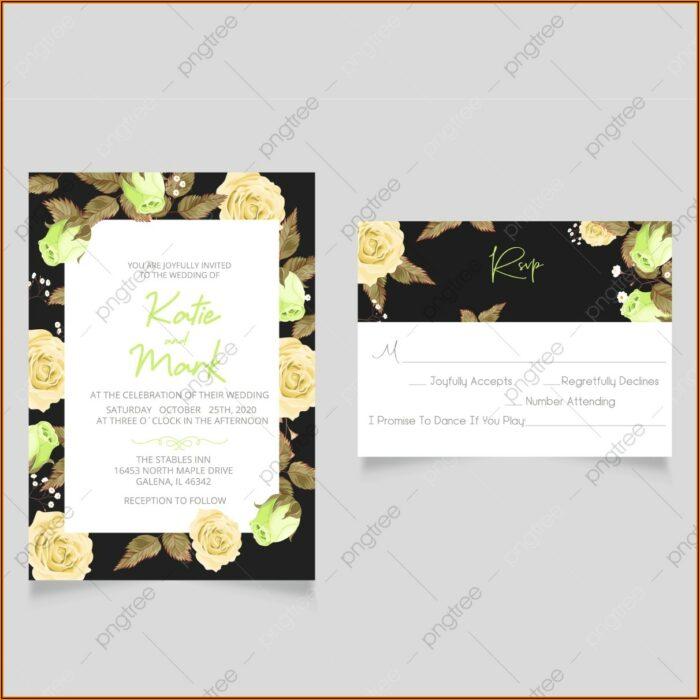 Wedding Menu Rsvp Card Template