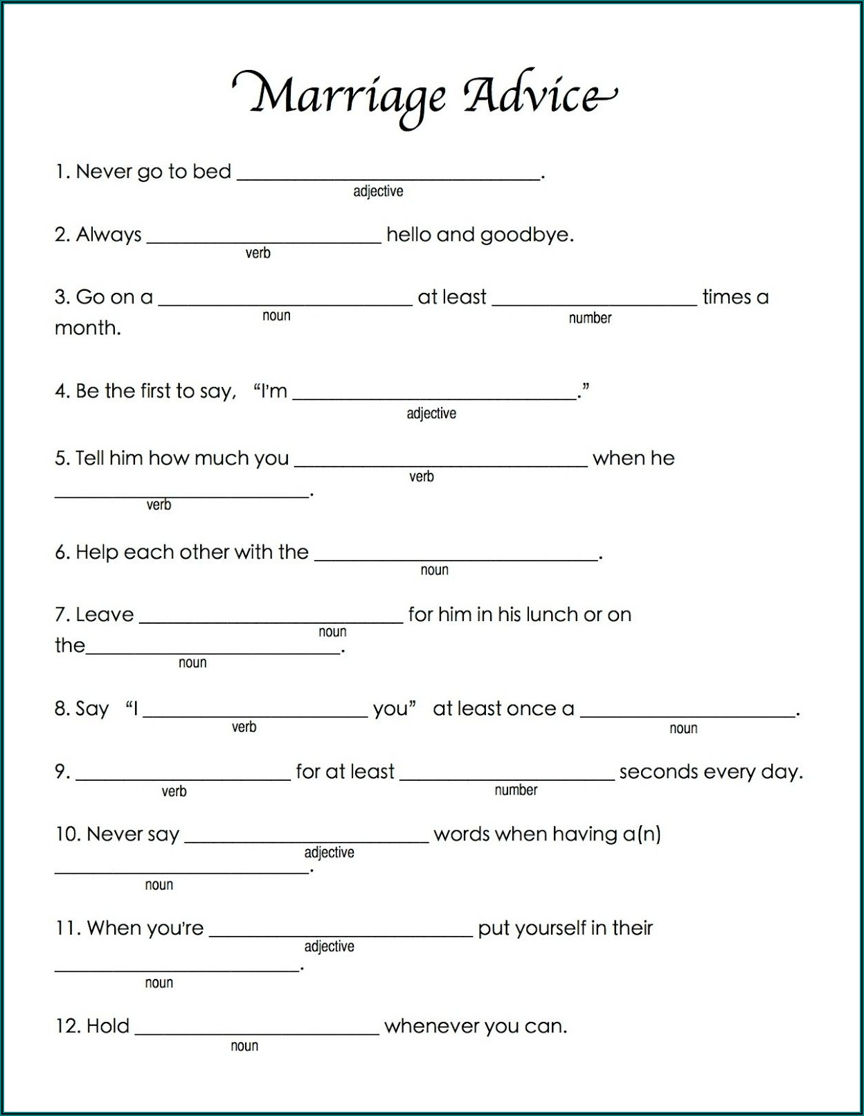 Wedding Night Mad Libs Template