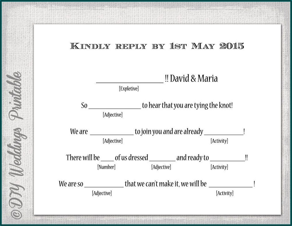 Wedding Rsvp Mad Libs Template