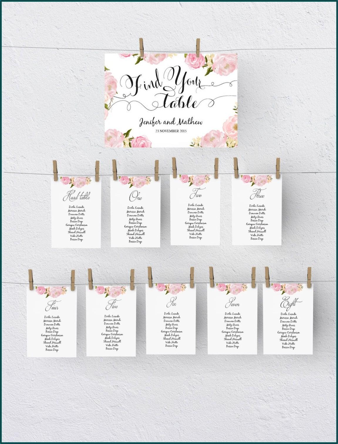 Wedding Table Seating Plan Template Download