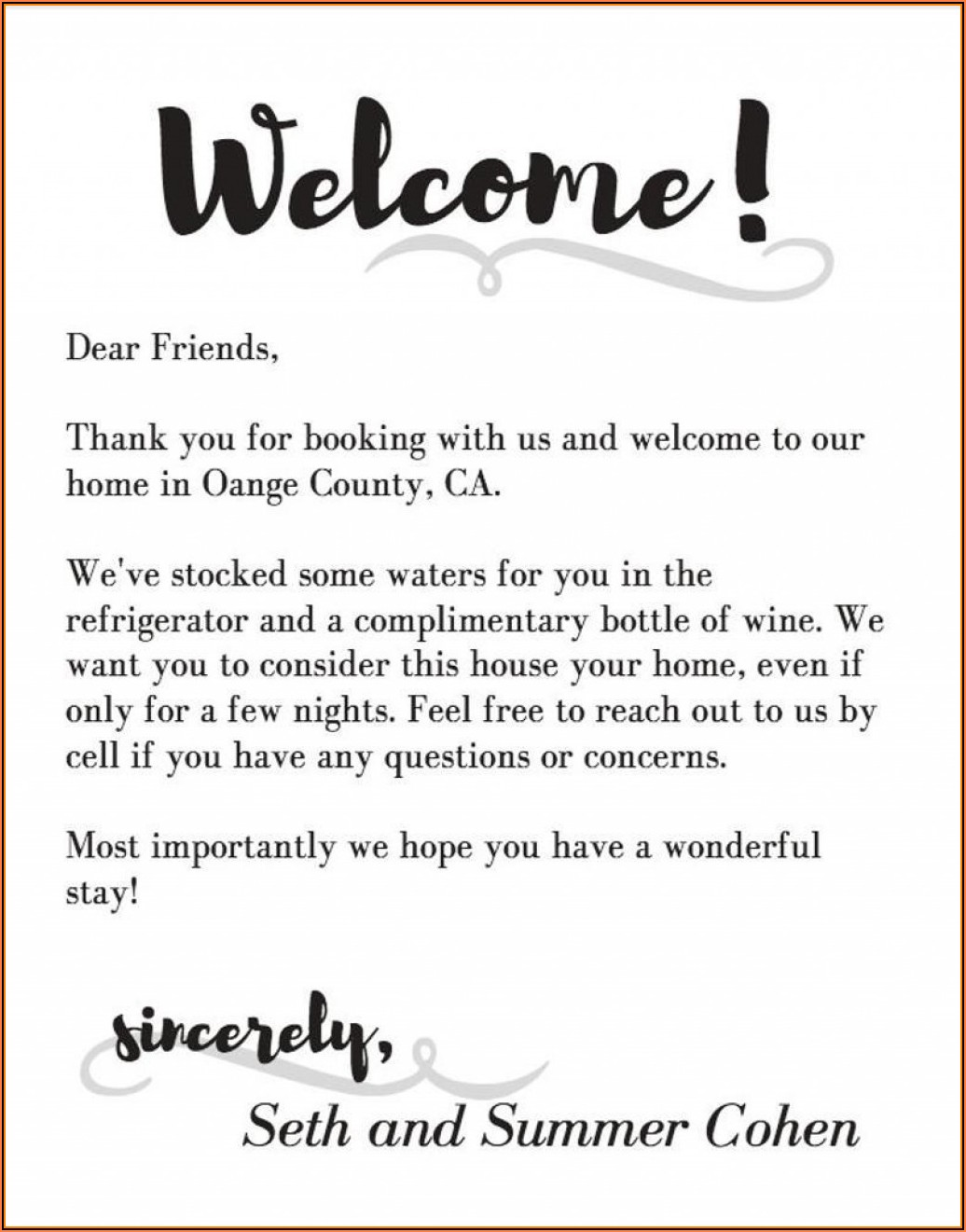 Wedding Welcome Letter Template Word