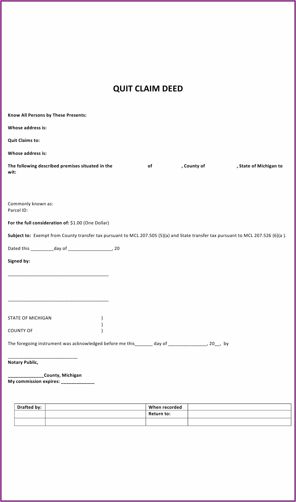 Where Can I Download A Quit Claim Deed Form