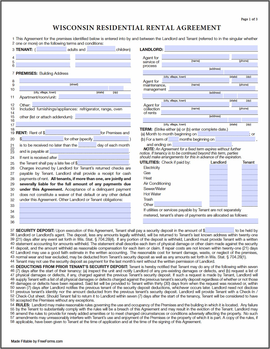 Wisconsin Rental Lease Agreement Form
