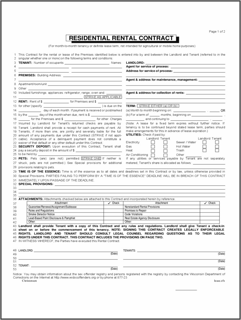 Wisconsin Residential Rental Agreement Form
